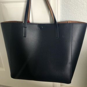 Navy blue and rose gold reversible tote